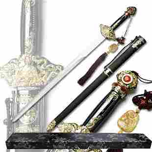 """43"""" HAND FORGED SAMURAI SWORD W/LEATHER HANDLE, NATURAL"""