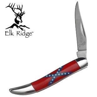 ELK RIDGE FOLDING POCKET KNIFE W/ CONFEDERATE FLAG