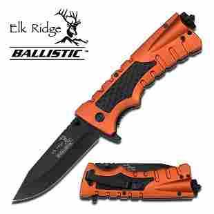 """ORANGE 8.5"""" ELK RIDGE TACTICAL SPRING ASSISTED KNIFE W/"""
