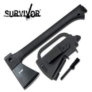 "14.5"" SURVIVAL AXE W/FIRESTARTER AND SHEATH"