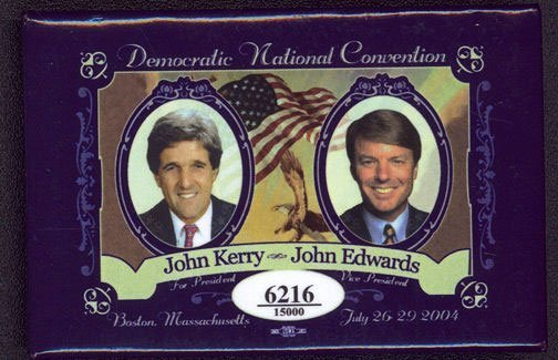 Fancy Large Kerry Edwards Jugate Pin from the Democrati