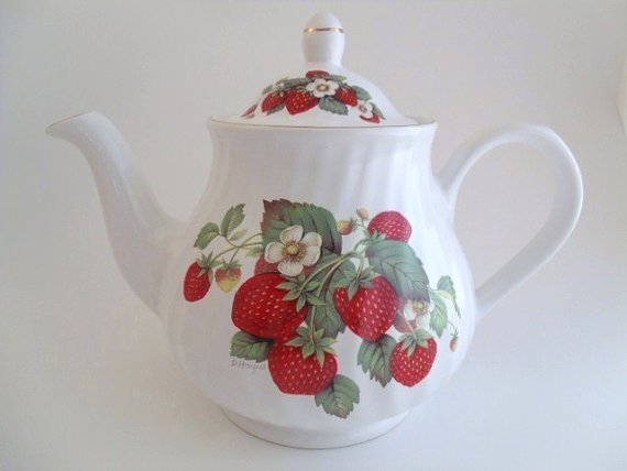 Arthur Wood and Son Teapot, Floral Strawberry - 2