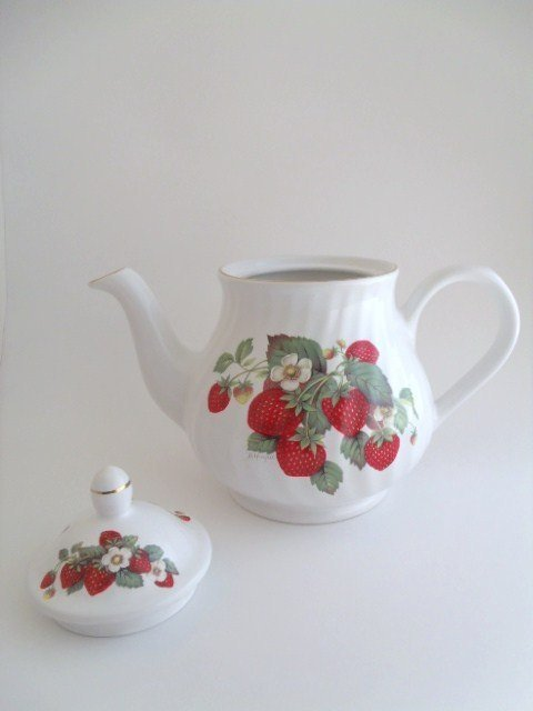 Arthur Wood and Son Teapot, Floral Strawberry - 3