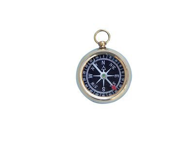 """NAUTICAL 2"""" SOLID BRASS BLACK FACED BEVELED COMPASS"""