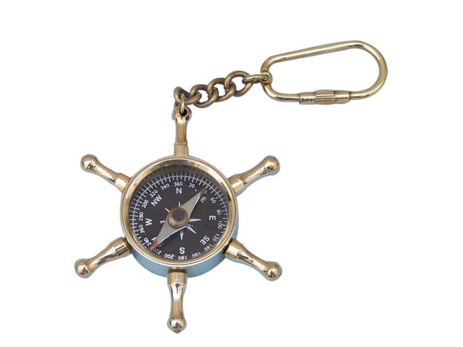 Nautical Solid Brass Ship's Wheel Compass Key Chain