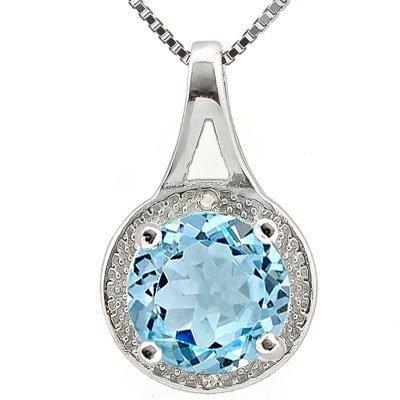 GENUINE 2.40 CTW BLUE TOPAZ AND 0.01 CTW DIAMOND PLATIN