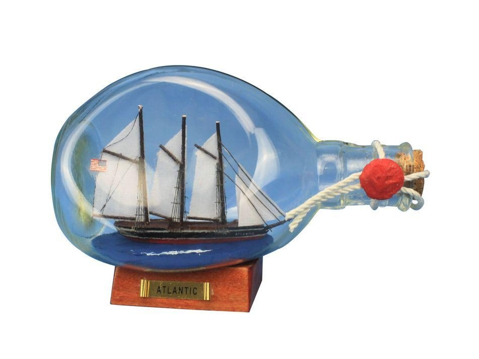"""Hand Made Atlantic Sailboat in a Glass Bottle 7"""""""