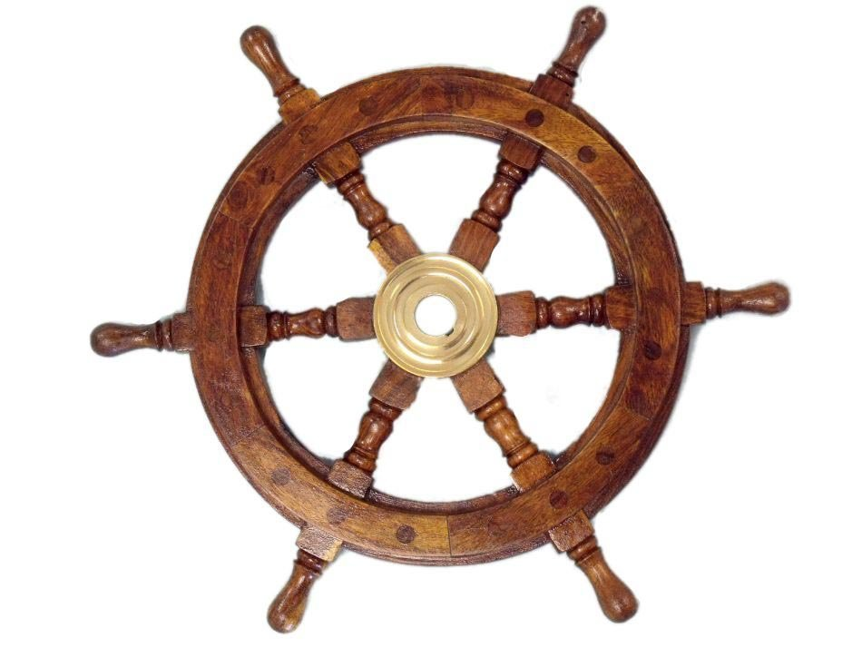 """NAUTICAL DELUXE CLASS HAMPTON WOOD AND SOLID BRASS 12"""""""