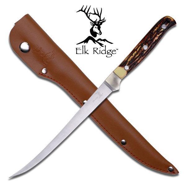 """ELK RIDGE 12.25"""" SIMULATED BONE HANDLE FILLET KNIFE"""