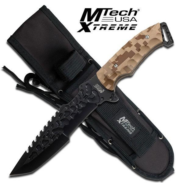 "12"" FULL TANG DESERT CAMO MTECH FIXED BLADE KNIFE"