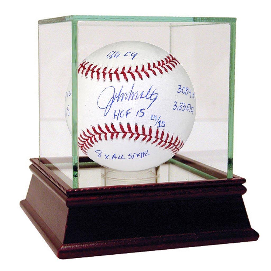 JOHN SMOLTZ AUTOGRAPHED MLB BASEBALL WITH CAREER STATS