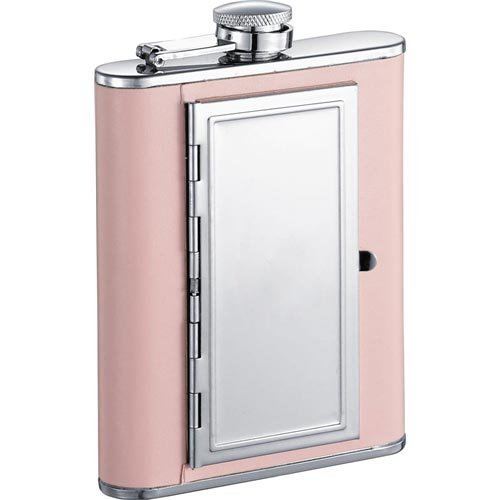 Visol Claudia Pink Leatherette Stainless Steel 6oz Hip