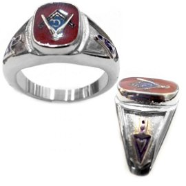 RED MASONIC STAINLESS STEEL RING