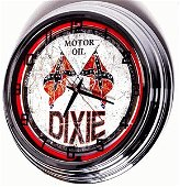 """17"""" DIXIE OIL NEON WALL CLOCK RED"""