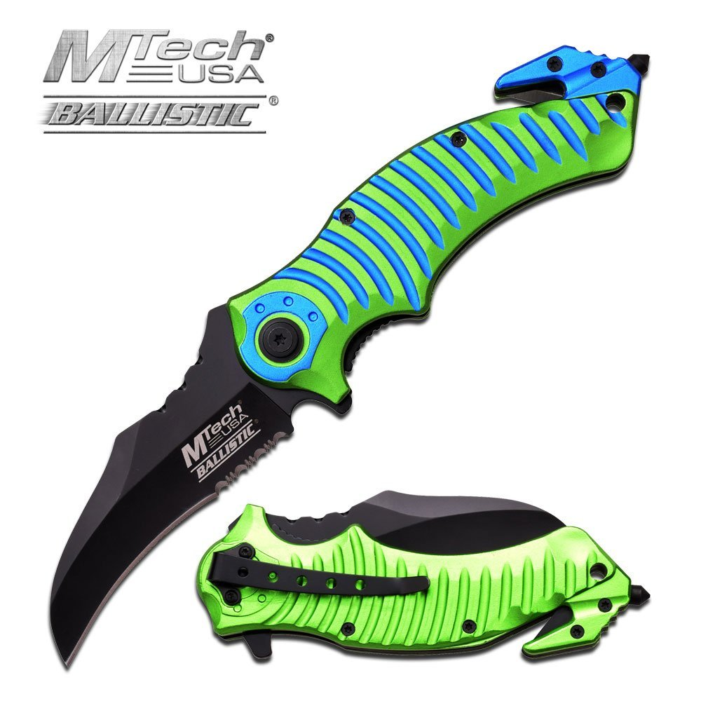 """MTECH 8.25"""" GREEN AND BLUE S/A RESCUE KNIFE"""