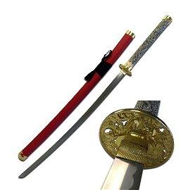 "41"" STAINLESS STEEL ORIENTAL SWORD W/RED SCABBARD"