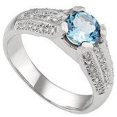 GENUINE 1.61 CTW BLUE TOPAZ AND 0.02 CTW DIAMOND PLATIN
