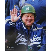 Don Zimmer Signed Wearing Green Yankees Hard Hat Vertic
