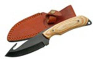 """8"""" PAKKAWOOD HANDLE GUTHOOK FIXED BLADE KNIFE COMES W/L"""