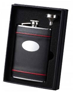Visol Rouge en Noir Black Leather with Red Accents Flas