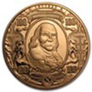 1 oz Copper Round - $100 Benjamin Franklin Banknote