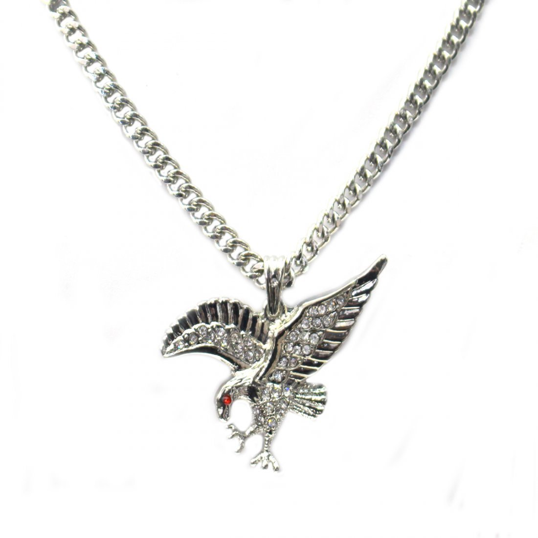 STAINLESS STEEL VULTURE RED AND CLEAR CZ PENDANT COMES