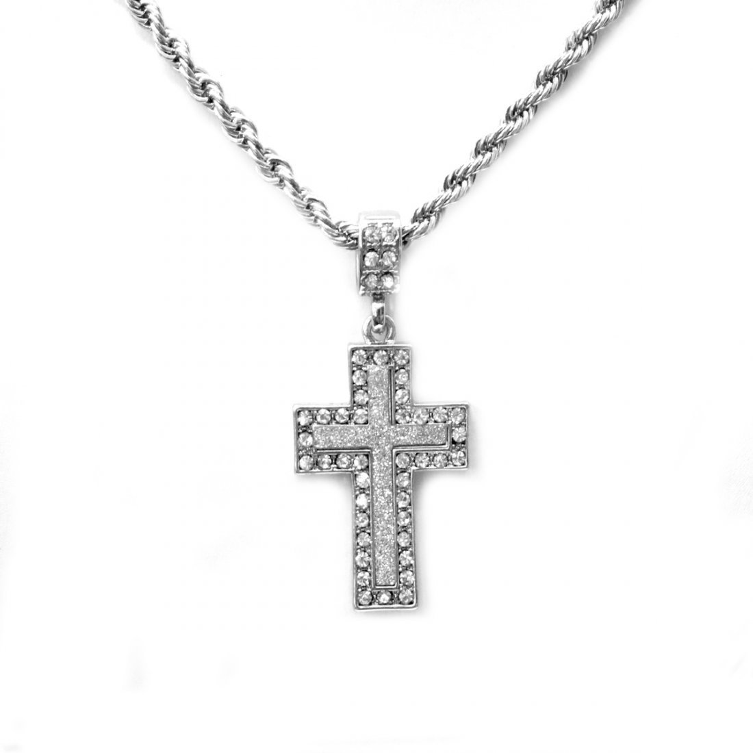 STAINLESS STEEL CROSS CZ PENDANT COMES W/CHAIN