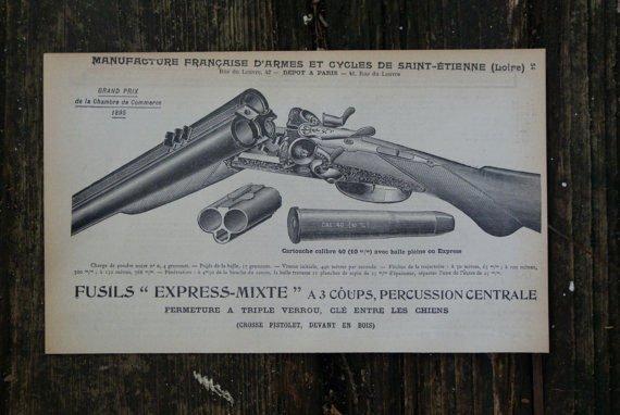 GENUINE VINTAGE 1902 CARABINE SHOTGUN PRINT (FRENCH)