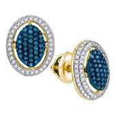 10K Yellow-gold 0.55CTW BLUE DIAMOND MICRO-PAVE EARRING