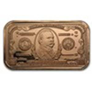 1 oz Copper Bar - $1000 Grover Cleveland Banknote