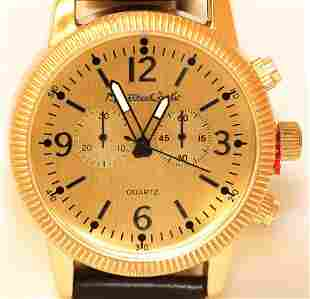 MONTRES CARLO WATER RESISTANT BLACK AND GOLD WRIST WATC