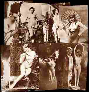 Set of Eight Different Nude French Post Cards