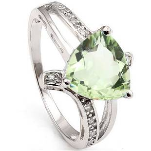 GENUINE 2.30 CTW GREEN AMETHYST AND CZ PLATINUM PLATED
