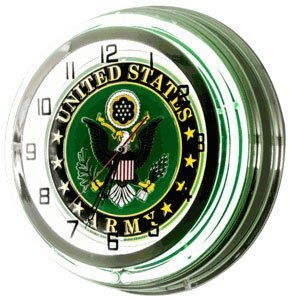 """NEON WALL CLOCK """"UNITED STATES ARMY"""""""