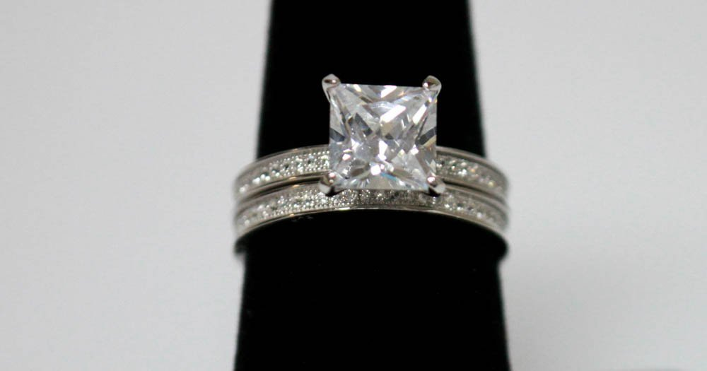 .925 STERLING SILVER CZ ENGAGEMENT RINGS W/ BAND