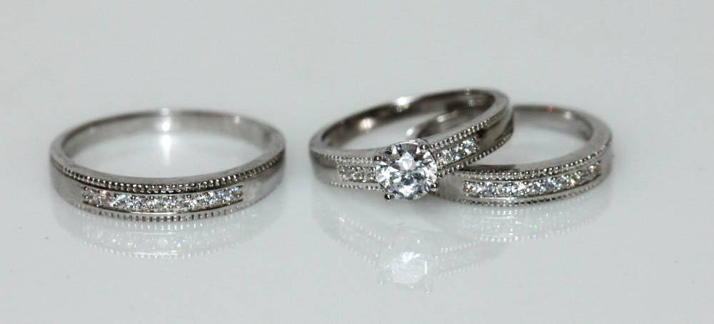 .925 STERLING SILVER CZ ENGAGEMENT RINGS W/ BANDS