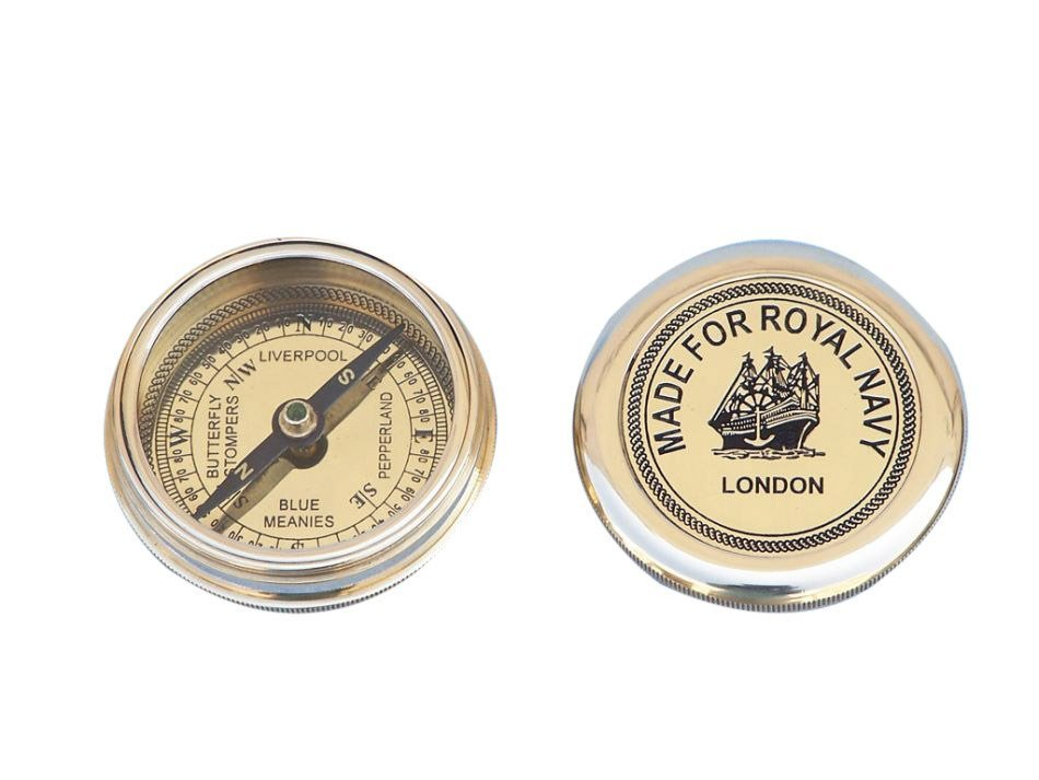 """NAUTICAL SOLID BRASS NAVY 3"""" POCKET COMPASS"""