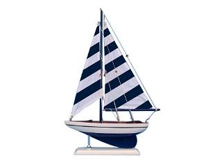 """Hand Made Blue Striped Pacific Sailer 17"""""""