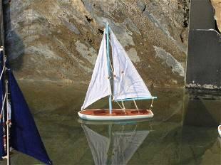 "Hand Made 21"" Light Blue Floating Sailboat"