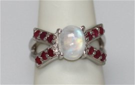3.60 CTW RAINBOW AND RUBY RING .925 STERLING SILVER