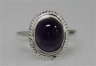 4.75 CTW Antique Style Amethyst Ring .925 Sterling Silv