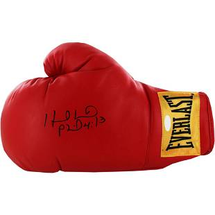 Evander Holyfield Signed Red Boxing Glove (Yellow Everl