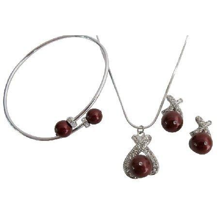 Jewelry Set with Bracelet In Bordeaux Pearls