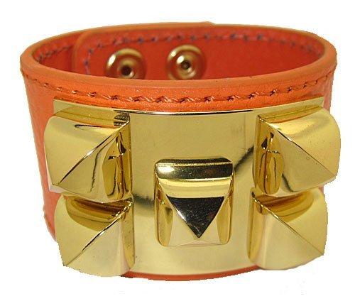 Leather Bracelet gold accents, Oragne