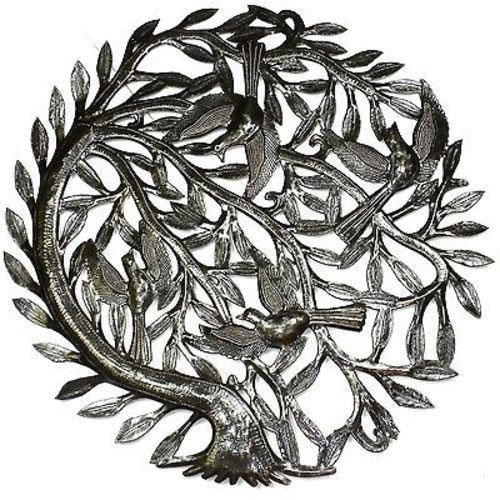 Tree of Life with Curved Trunk Metal Wall Art 24-inch D