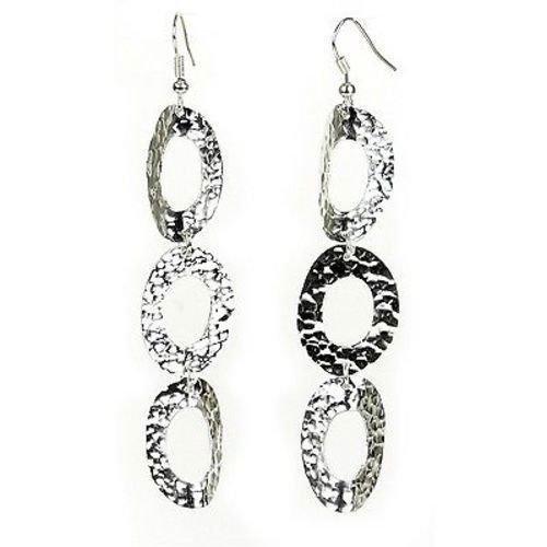 Large Silverplated Triple Oval Earrings - Artisana