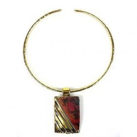 Lines Drawn Brass And Copper Pendant Necklace - Brass I