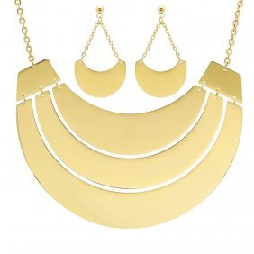 18 Karat Gold Plated Earring And Necklace Set On Stainl