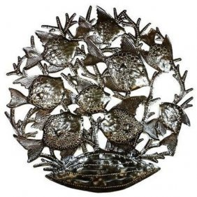 School Of Fish - 24 Inch Metal Art - Croix Des Bouquets