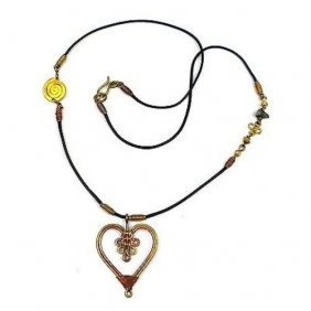 Handcrafted Copper And Brass Heart Pendant Necklace - Z